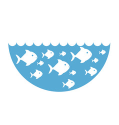 Silhouette fishes in blue ocean with waves vector