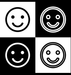 Smile icon black and white icons and line vector