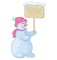 snowman woman with sign vector image
