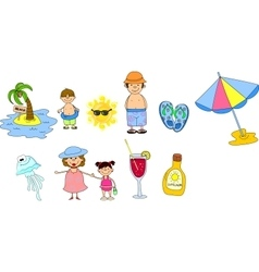 Summer Beach Icon Set vector image vector image