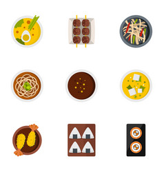 Sushi bar icons set flat style vector