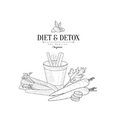 Vegetables and celery detox hand drawn realistic vector