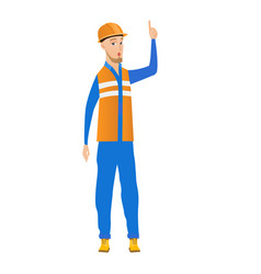 Young builder with open mouth pointing finger up vector