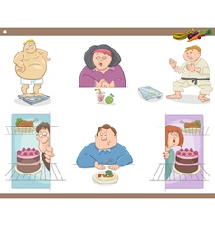 People on diet cartoon set vector