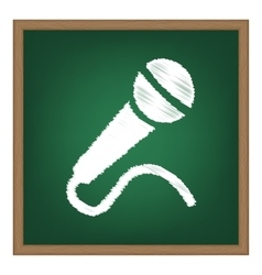 Microphone sign  white chalk effect vector