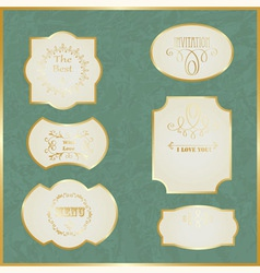 Vintage labels with golden borders vector