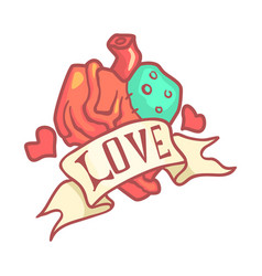 Human anatomical heart with ribbon colorful vector