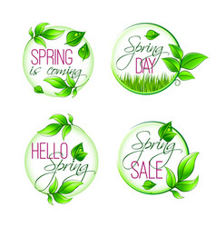 Leaf grass of spring time isolated quotes vector