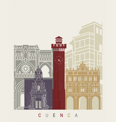 cuenca skyline poster vector image