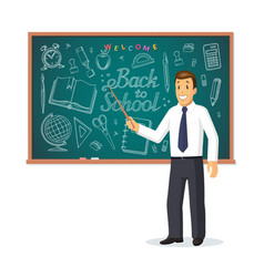 smiling teacher with pointer stick vector image