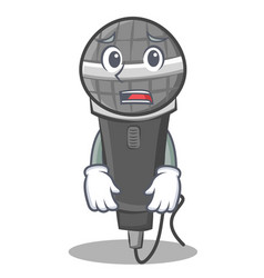 Afraid microphone cartoon character design vector