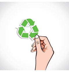 Recycle Icon In Hand vector image