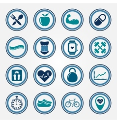 Fitness and health colorful flat icons set vector