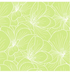Green and white geranium flowers line drawing seam vector