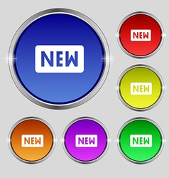 New icon sign round symbol on bright colourful vector