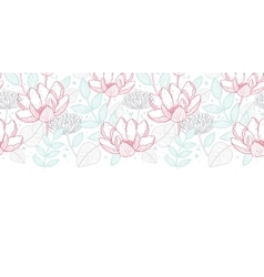 Modern line art florals horizontal border vector
