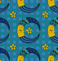 Doodle moon seamless pattern for children design vector