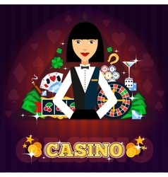 Casino dealer concept vector