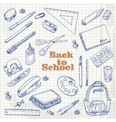 Back to school - set of objects in sketch style on vector