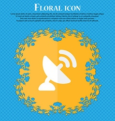 Satellite antenna floral flat design on a blue vector