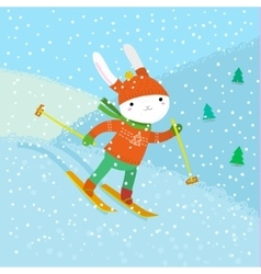 Cute white rabbit skiing vector