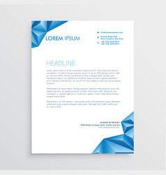 abstract blue triangle style letterhead design vector image vector image