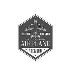 Airplane air club emblem design vector