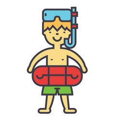 Boy with swimming mask and ring in pool kids vector