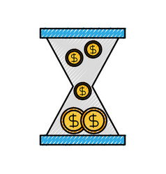 Business glass clock with money dollar coins time vector