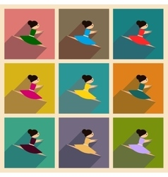 Concept of flat icons with long shadow ballet vector