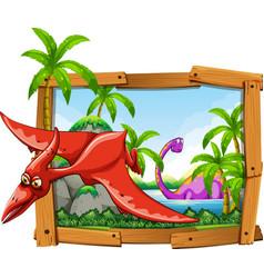 Dinosaurs in wooden frame vector