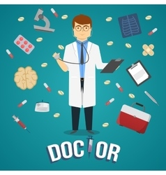 Doctor And Medical Objects Design vector image vector image