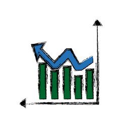 Financial statistics graphs arrow growth vector