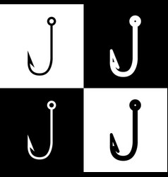 Fishing hook sign black and vector