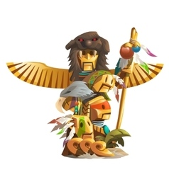 Golden ancient totem of man with bird wings vector