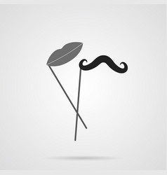 Gray mustache and lips on stick flat icon vector