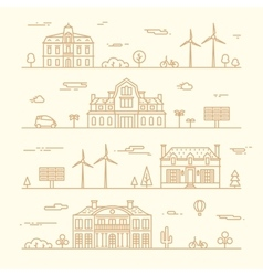 Green city silhouette eco infographic element line vector