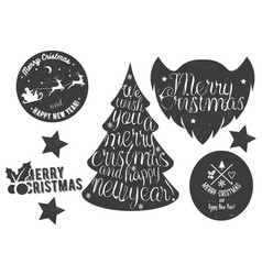 Hand drawn Christmas and New Year decoration set vector image