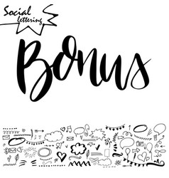 hand drawn lettering word with set of social media vector image vector image