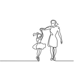 Happy dancing woman - continuous line drawing vector