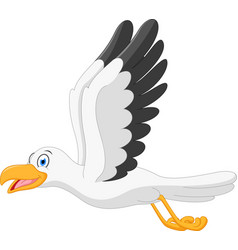 Happy seagull cartoon flying vector