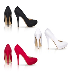 High heeled Shoes in Black White and Red vector image