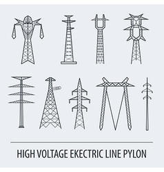 High voltage electric line pylon icon set suitable vector