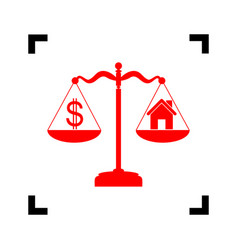 House and dollar symbol on scales red vector