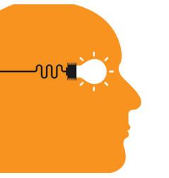 human head with creative bulb light idea icon vector image vector image