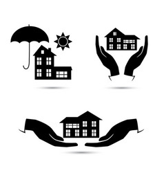 insurance black icons set vector image