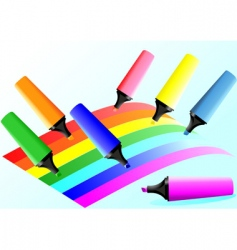 markers and colored lines vector image