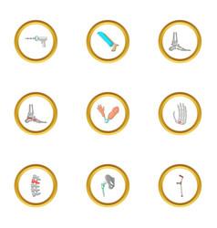 orthopedic surgery icons set cartoon style vector image