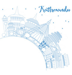 outline kathmandu skyline with blue buildings and vector image vector image