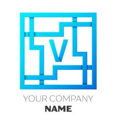 Realistic letter v logo in colorful square maze vector